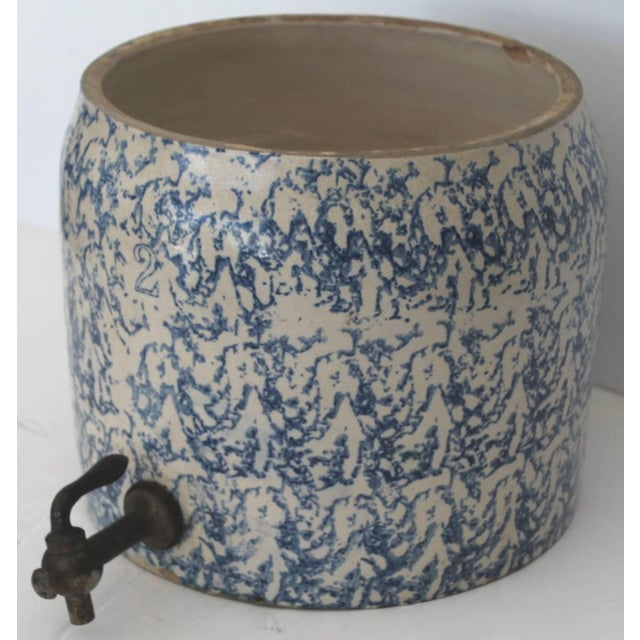 This fantastic and super rare 19th century sponge ware water cooler could be used for even lemonade or parties. The...