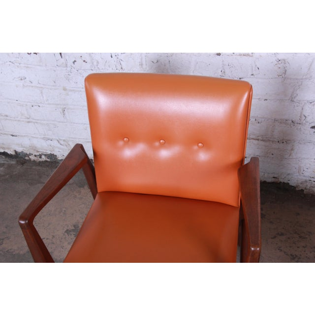 Orange Jens Risom Mid-Century Modern Sculpted Walnut Lounge Chairs, Pair For Sale - Image 8 of 12