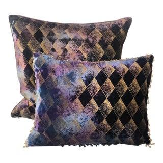 Richard Fischer Collection Harlequin Velvet Pillows - a Pair For Sale