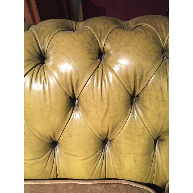 Antique English Leather Chesterfield Loveseat - Image 6 of 8