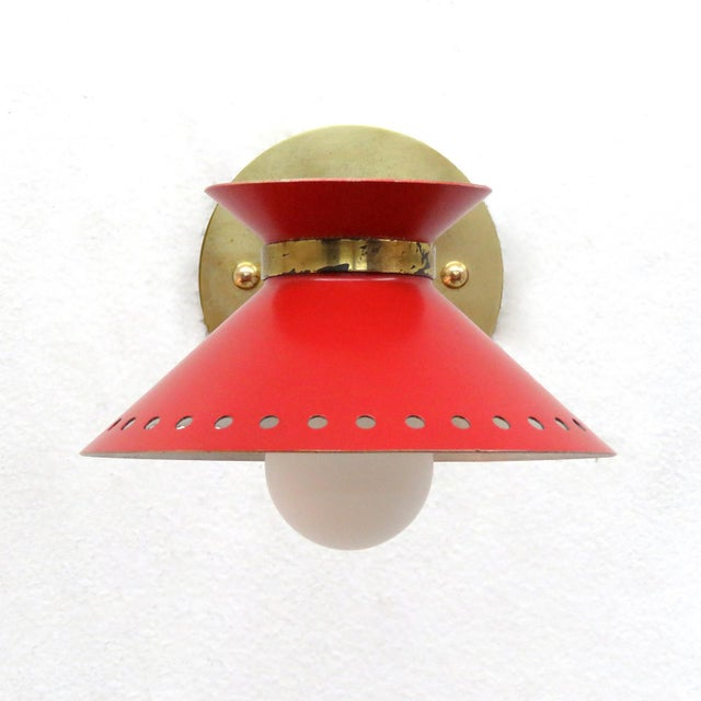 Red Pair of Red Arlus Wall Lights, 1950s For Sale - Image 8 of 11