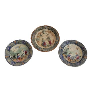 19th Century French Faiance Barbotine Plates - Set of 3