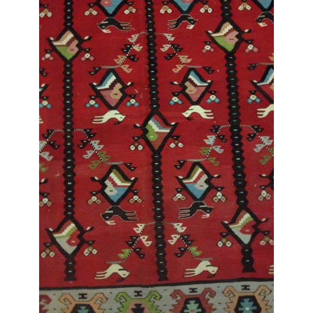 Contemporary Red Bird & Fish Area Rug - 10' x 6' For Sale - Image 3 of 4