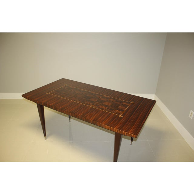 1940s Art Deco Exotic Macassar Ebony Writing Desk/Dining Table For Sale - Image 12 of 13