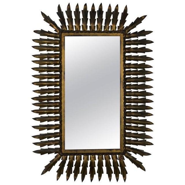 Metal Spanish Gilt Metal Rectangular Sunburst Mirror For Sale - Image 7 of 8
