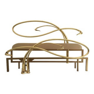 Swan Motif Art Nouveau Style Brass King-Size Bed For Sale