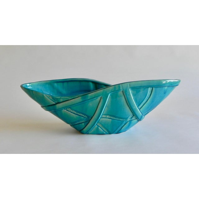 Mid-Century Modern Global Views Aqua Strapped Bowl For Sale - Image 3 of 6