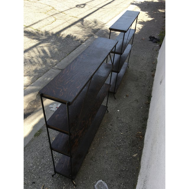 1950s Modern Style Iron & Wood Shelves - a Pair For Sale In Los Angeles - Image 6 of 8