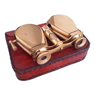 Vintage Brass Folding Binoculars with Leather Case For Sale
