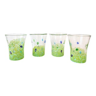 Green Confetti Murano Tumblers-Set of 4 For Sale