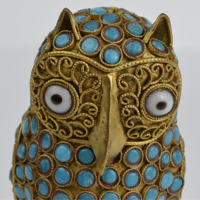 Turquoise Nepalese Brass Owl Figurine With Turquoise and Coral For Sale - Image 8 of 13