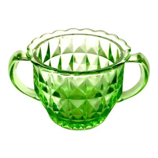 Art Deco Green Uranium Glass Two Handled Sugar Bowl For Sale