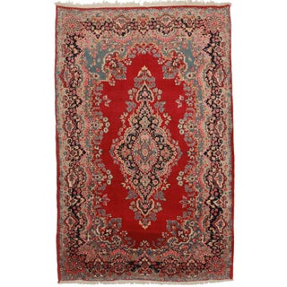 RugsinDallas Hand-Knotted Persian Yazd Rug - 6′7″ × 10′2″ For Sale