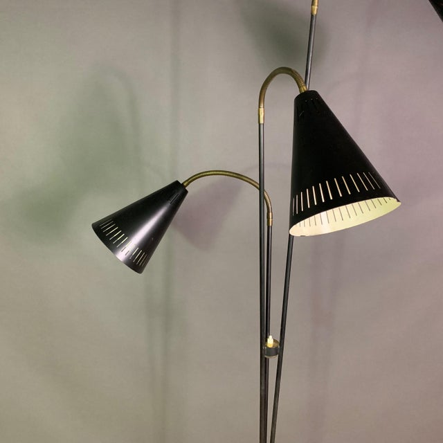 Danish 1960s Lacquered Metal & Brass 3-Cone Floor Lamp For Sale - Image 4 of 10