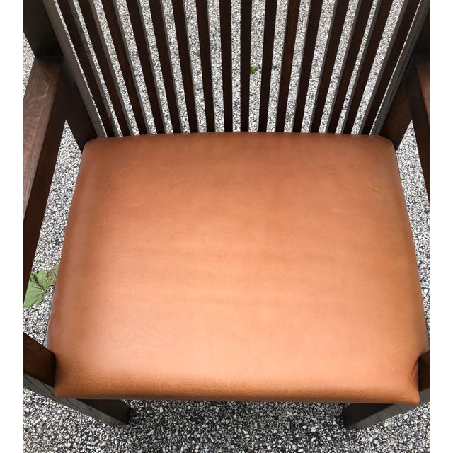 Brown Vintage Mid-Century Frank Lloyd Wright Willets House Style Prairie Oak Armchair For Sale - Image 8 of 13