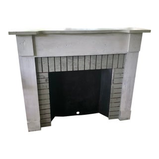 Vintage 1960s Wood and Metal Free Standing Mantel For Sale