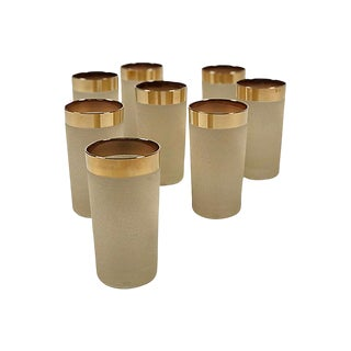 Gold Rim Etched Highball Glasses, S/8 For Sale