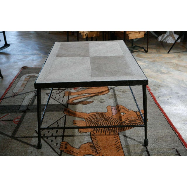 Customizable Paul Marra Textured Iron and Wood Coffee Table - Image 6 of 9