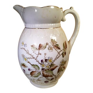 Antique English Floral Water Pitcher