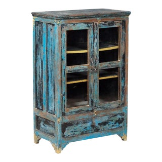 Rustic Two Door Glass and Solid Wood Small Cabinet With Shelves For Sale