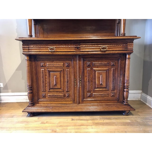 Glass Antique French Carved Cabinet For Sale - Image 7 of 8