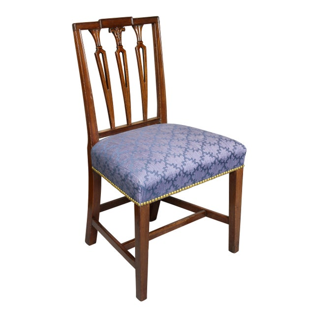 Each with a square paneled crest rail over three pierced stick splats, nicely upholstered seat raised on tapered square...