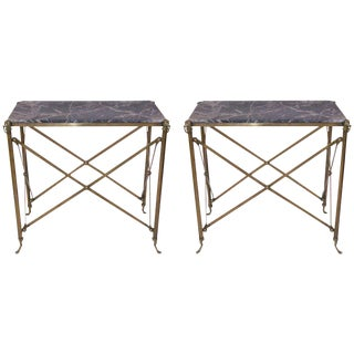 Style Jansen, Pair of Consoles, Gilets Brass and Marble, Circa 1970, France