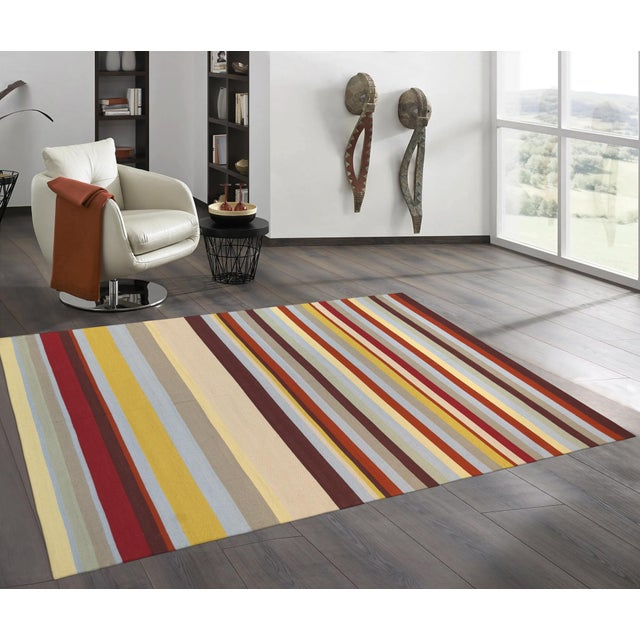 Anatolian Hand-Woven Striped Cotton Rug- 5' X 8' For Sale - Image 4 of 4