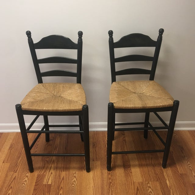 Vintage French Country Woven Rush Seat Counter Stools - a Pair For Sale - Image 11 of 11