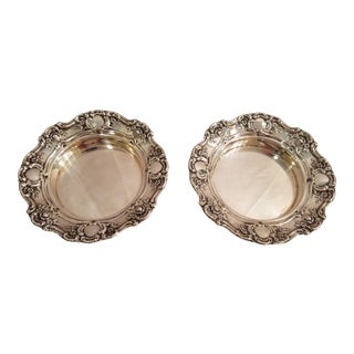 Vintage Towle Silver Plate Silver on Brass Wine Coasters in Rose and Cameo Design - a Pair For Sale