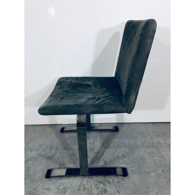 Saporiti Italia Seven Giovanni Offredi for Saporiti Chrome Dining Chairs For Sale - Image 4 of 12