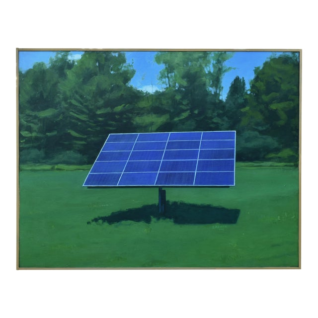 """2010s Contemporary Painting, """"Solar Panel in a Field"""" by Stephen Remick For Sale"""