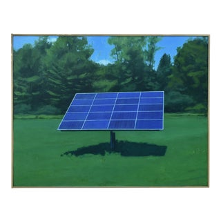 """Solar Panel in a Field"", Contemporary Painting by Stephen Remick For Sale"