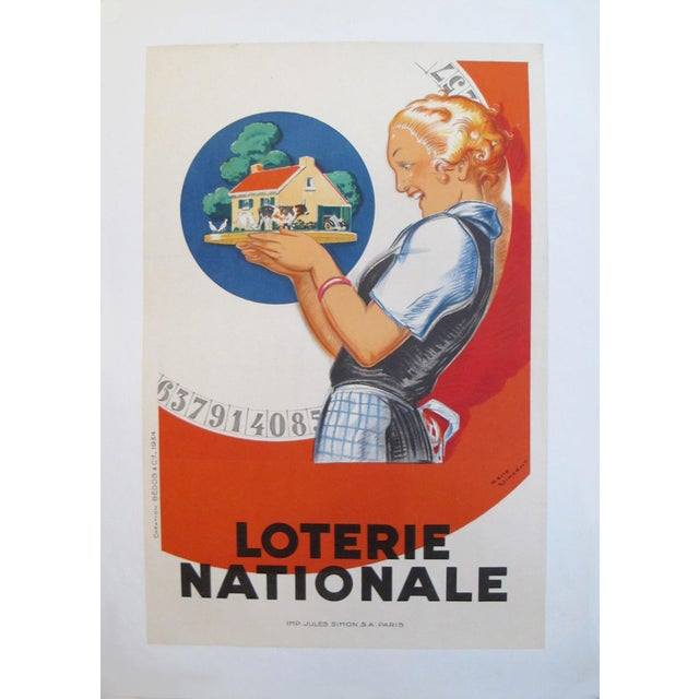1920s 1925 Original French Art Deco Poster, Loterie Nationale For Sale - Image 5 of 5