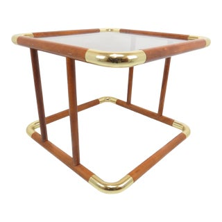1980s Mahogany and Tinted Glass End Table With Polished Brass Corners For Sale
