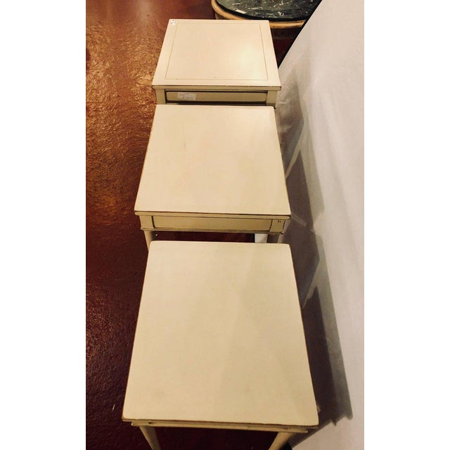 Set of Three White Painted Nesting / Stacking Tables Attributed to Jansen For Sale - Image 11 of 13