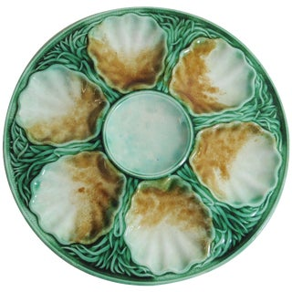 19th Century Victorian Majolica Oyster Plate Salins