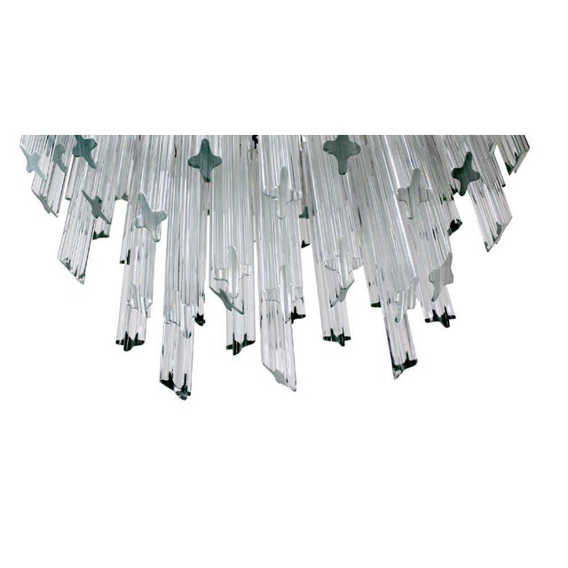 Glass Camer Mid-Century Modern Murano Chandelier Glass Prisms Light Fixture For Sale - Image 7 of 9