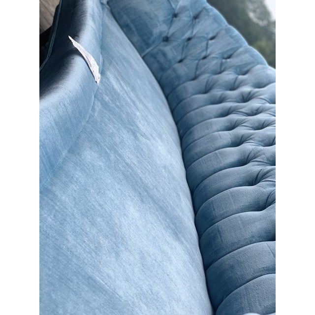 Mid Century Modern Sky Tufted Blue Chesterfield For Sale - Image 9 of 13