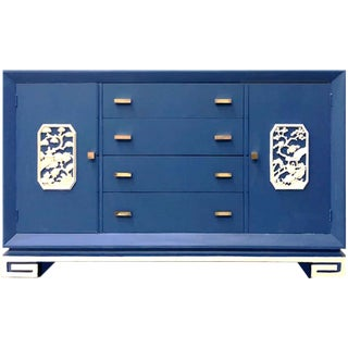 1950s Vintage Chinoiserie James Mont Blue Credenza For Sale