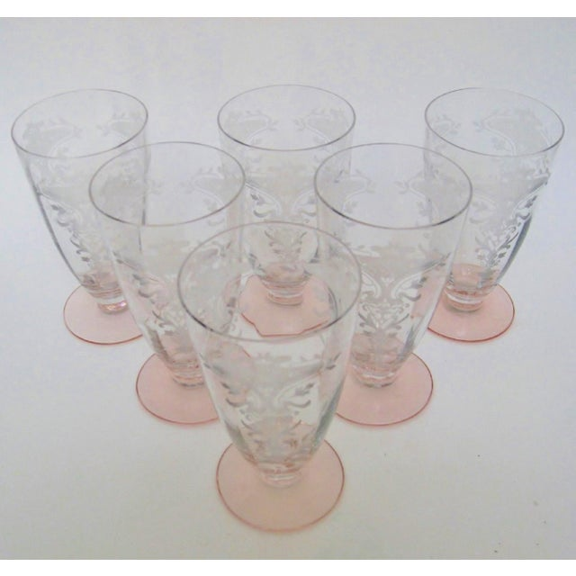 Vintage American etched fluted clear glasses on petal pink bases with Victorian styling. No maker's marks, attributed to...