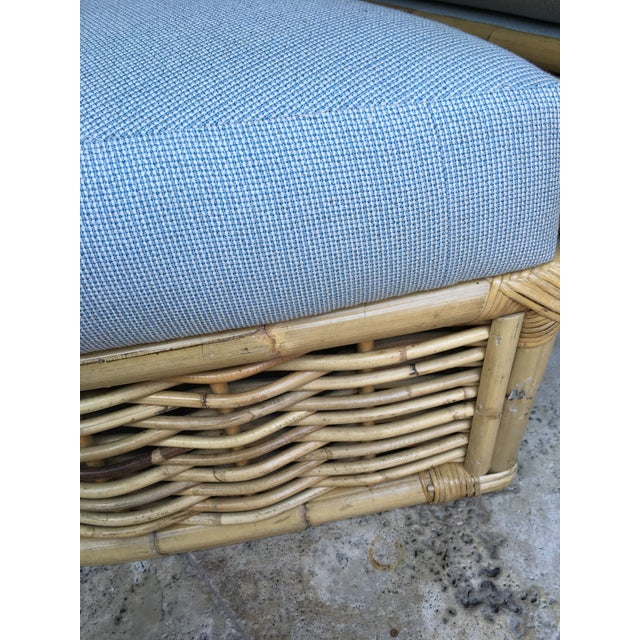 Boho Chic Vintage Rattan Lounger and Ottoman For Sale - Image 3 of 7