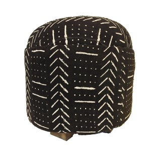 """Custom Made African Lg Round Malian Mud Cloth Ottoman 17"""" H by 18"""" D For Sale"""