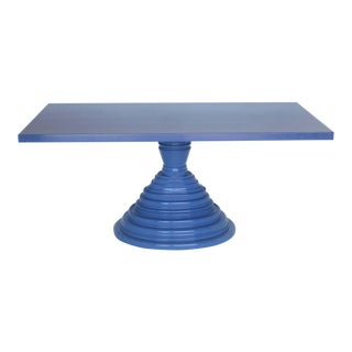 Custom Periwinkle Pedestal Table For Sale