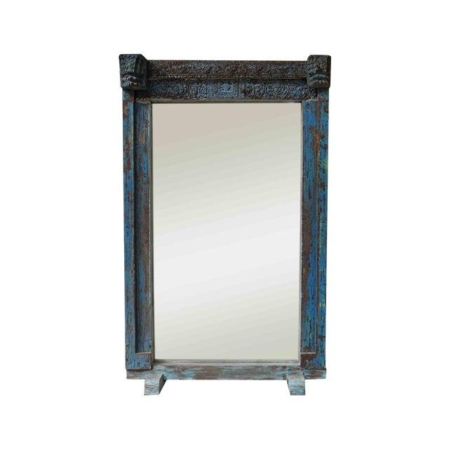 Turquoise Vintage Floor Mirror - Image 1 of 5