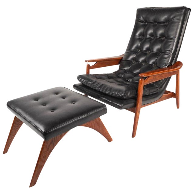 Mid-Century Modern Tufted Vinyl Lounge Chair and Ottoman - Image 1 of 10