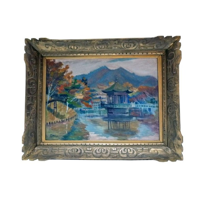 Asian Impressionist Painting by F. Honii For Sale