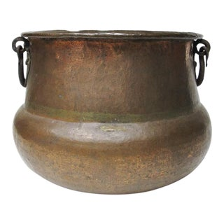 Massive Hand Hammered Copper Cauldron Planter For Sale