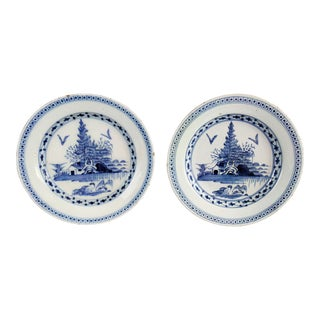 Antique Delft Chinoiserie Plates, Pair For Sale