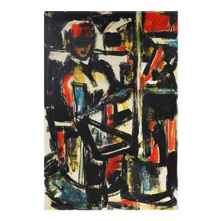 Mid-Century Expressionist Portrait Painting, Circa 1950 For Sale